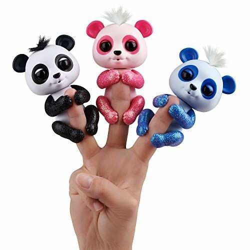 WowWee Fingerlings Glitter Panda - Polly (Pink) - Interactive Collectible Baby P