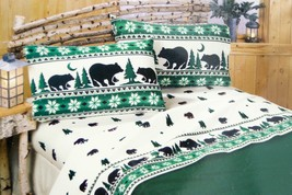 Vtg Twin Flannel Sheet Set -Alaskan Bears Trees Rustic Forest -Green / W... - $64.99