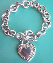 "JUDITH RIPKA Sterling Silver Heart Pendant Country Link Bracelet 7.5"" w ... - $79.79"