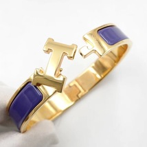 Authentic Hermes Navy Blue Enamel Gold H Clic-Clac Bracelet PM RARE image 3