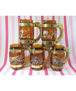 Yeeee-Haw! Vintage 5pc Siesta Ware Cowboy Theme Amber Glass Mugs • Wood ... - $18.00