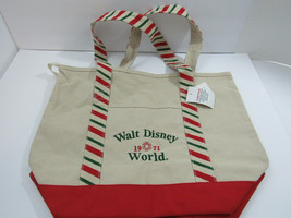 Walt Disney World Beach Tote Tan Canvas Bag Christmas Stripe Red Green 1971 - $21.77