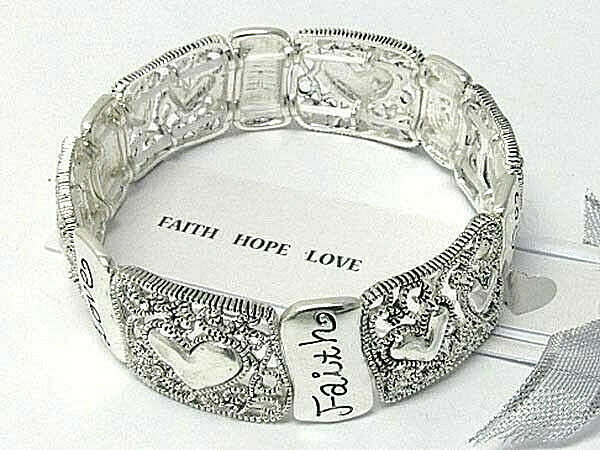 Primary image for FAITH HOPE LOVE Inspirational Bangle Bracelet Silver NEW