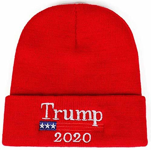 2020 Donald Trump Red Beanie Skullie Hat Keep America Great Embroidery USA Flag