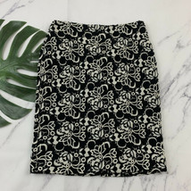 Talbots Lace Pencil Skirt Size 4 Black White Crochet Floral Knee Length - $22.76