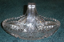 Vintage Cut Glass Basket With Iridescent Violet Tones - NICE COLLECTIBLE... - $24.24