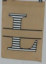 Kate Winston Brand Brown Burlap Monogram Black And White L Garden Flag image 1
