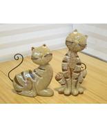 Vintage Handmade Pair of Cats Ceramic Figurines - Beige Sand Tabby - $93.14