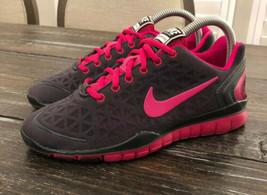 Nike Training Run Free Fit 2 Grey Black Pink Swoosh Womens Size 7 487789... - $44.55