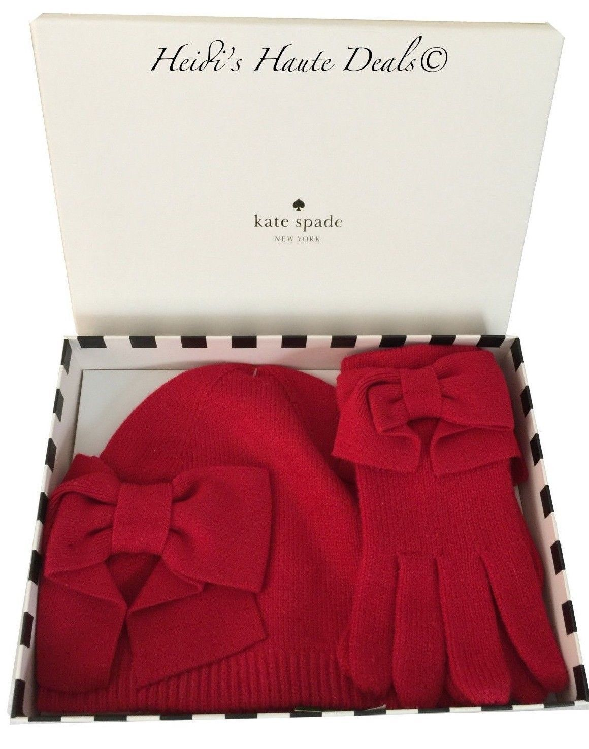 c40052e933d27 NWT Kate Spade Dorothy Red Bow Beanie Hat and Gloves Box Gift Set  98
