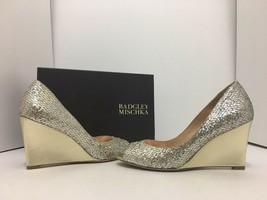 Badgley Mischka Awake Platino Glitter Women's Evening Wedge High Heel Pu... - $88.72