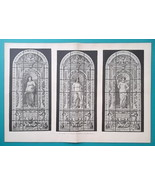 RUSSIA St. Petersburg Academy of Arts Glass Windows 3 Muses - 1880s Old ... - $30.60