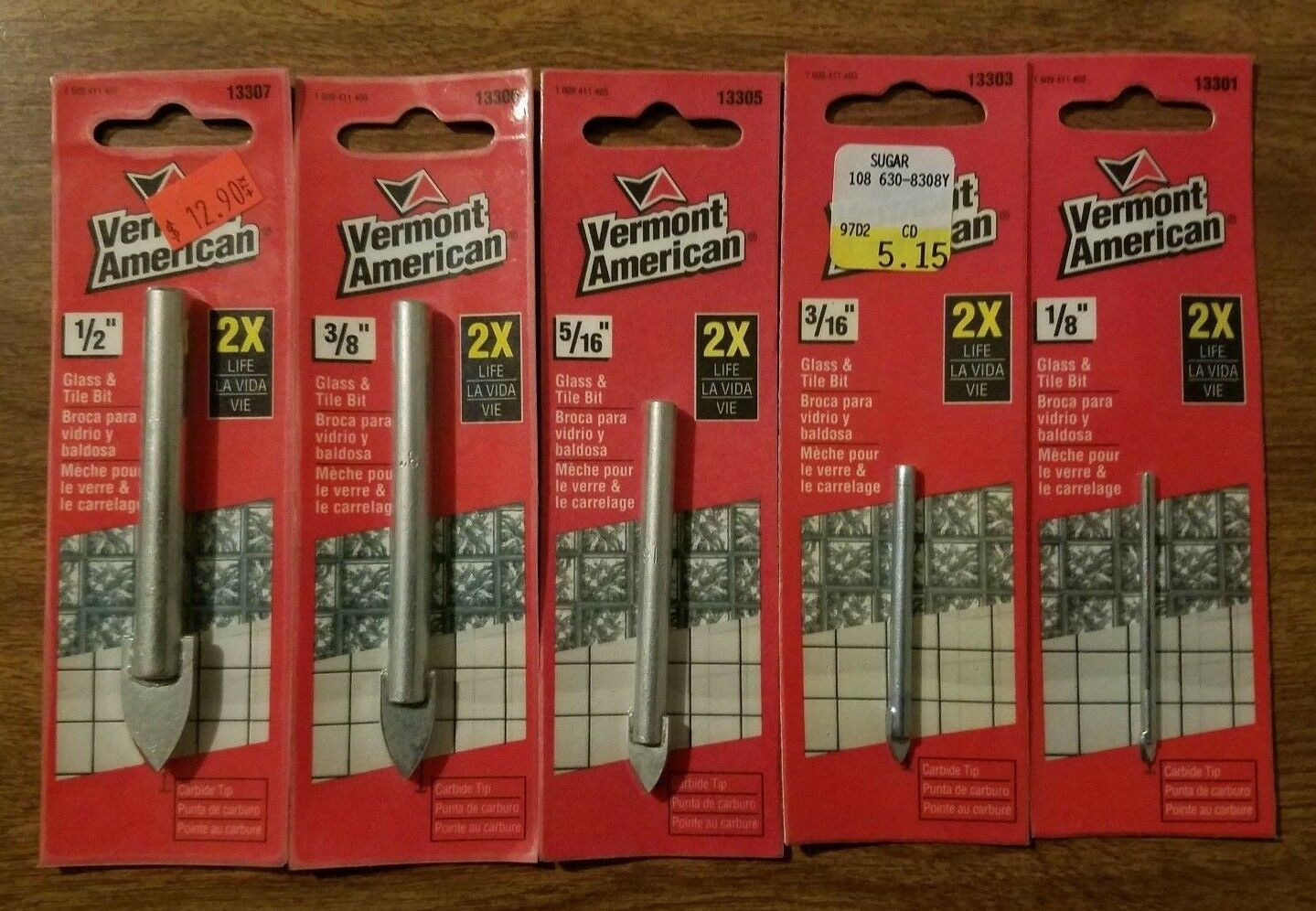 Primary image for VERMONT AMERICAN CARBIDE CHINA, GLASS, MIRRORS, MARBLE TILE DRILL BITS 5 PIECE