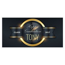 Gold Ring Graduation Banner Personalized Class of 2017 Party Backdrop - £17.34 GBP