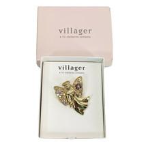 Liz Claiborne Villager Angel Brooch Pin Jewelry Rhinestones Gold 1 5/8 x 1 1/2 - $14.22
