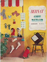 Bernat Gift Bazaar #54 Knitting Crochet Patterns Vtg 1956 Hats Slippers ... - $9.74