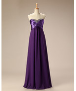 Long Elegant Chiffon Bridesmaid Dresses Beaded Sweetheart Formal Gowns 2018 - £52.45 GBP