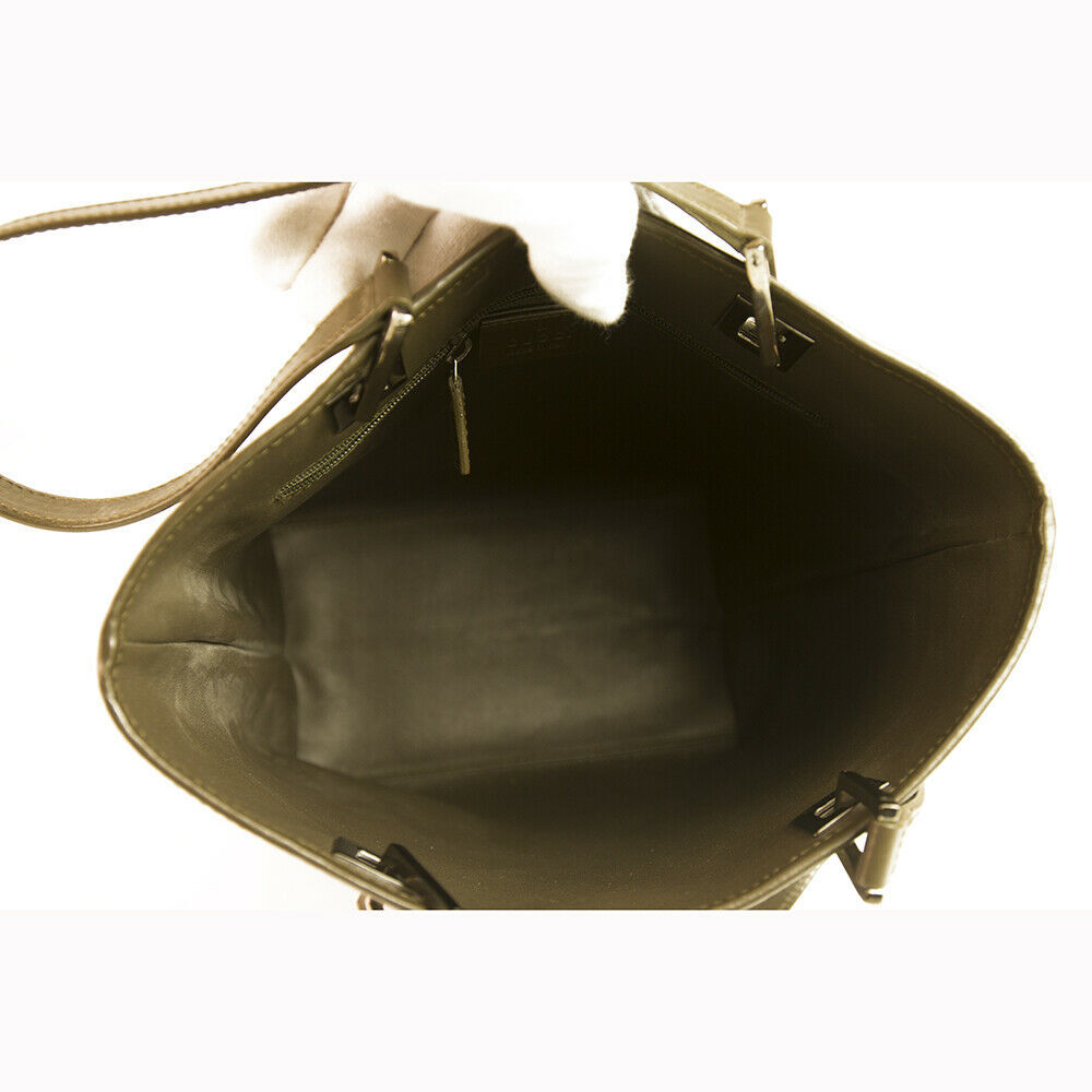 GUCCI Khaki Green Satin Canvas Leather Trim & Handles Medium Tote Bag Handbag