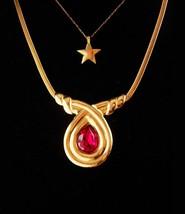 Stunning Pendant necklace - Monet cranberry jewel - Petite star necklace... - $135.00