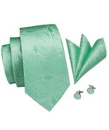 Hi-Tie Mens Mint Green Floral Tie Jacquard Woven Silk Necktie Handkerchi... - €20,78 EUR