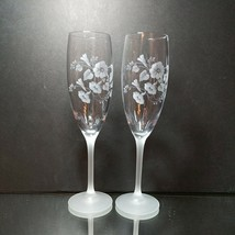2 (Two) AVON HUMMINGBIRD Etched Crystal Champagne Flutes Frosted Stems F... - $27.07