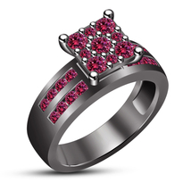 14k Black Gold Plated 925 Silver Women's Pink Sapphire Solitaire W/ Accents Ring - $99.60