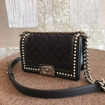 AUTHENTIC 2019 CHANEL BLACK Limited Edition Leather Small Boy Flap Bag image 3