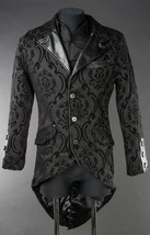 Men's Black Brocade Steampunk Tailcoat Victorian Vampire Goth Jacket - $88.09