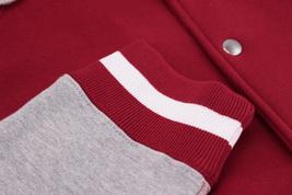 Men's Fleece Varsity Sweatshirt Letterman Sports Raglan Button Up Hoodie Jacket image 7