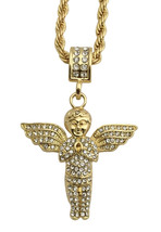 "Mens 14K GP Gold Hip Hop Mini Micro Angel Pendant Necklace w 4mm 30"" Rop... - $7.69"