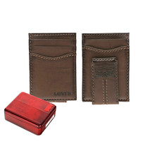 Levi's Men's Two Horses Logo Magnetic Card Case With Clip Brown Wallet
