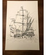 Vintage Print of Illustration Drawing of Schooner Warship Maritime Navy ... - $27.91