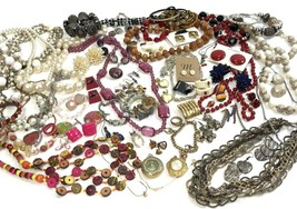 Costume Jewelry Lot Boho Mod Metal Vtg To Modern Mixed Materials 3+ lbs  - $34.65