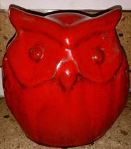 "Fat Red Owl Ceramic Figurine 9"" - $34.64"