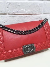 AUTHENTIC CHANEL RED SMOOTH CALFSKIN REVERSO MEDIUM BOY FLAP BAG RHW image 10
