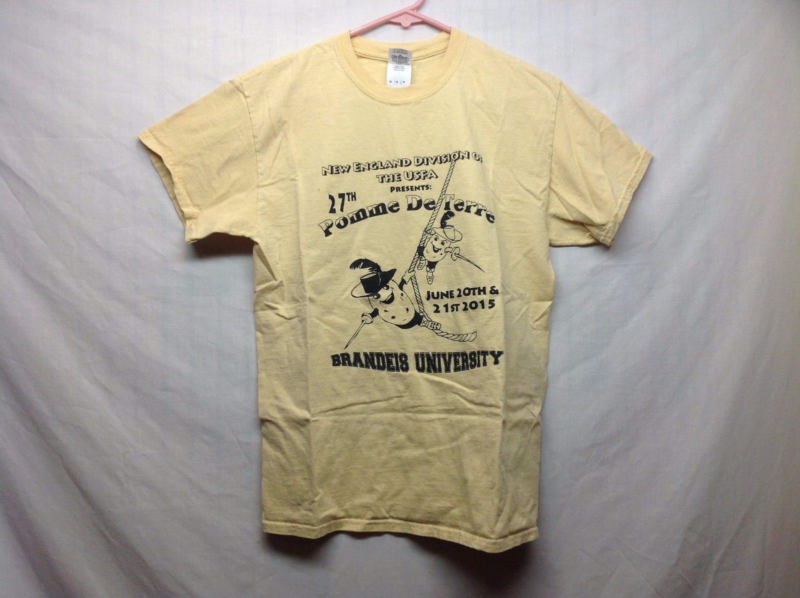 27th Pomme De Terre Novelty Fencing Yellow T Shirt Sz M