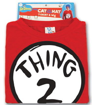 Dr. Seuss The Cat In The Hat Thing 2 Adult T-Shirt & Wig Costume Kit NEW... - $38.69