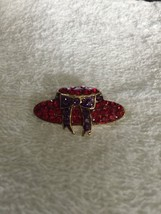 Vintage Red Hat Society Glass & Metal Lapel Brooch Pin image 2