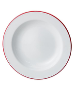Red Rim Enamel Salad Plate 6/Set Farmhouse Kitchen Country Cooking  - $34.95