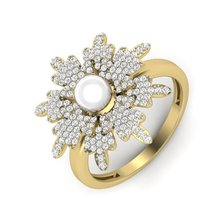 Flower Art Nouveau Design Ring Solid 925 Sterling Silver Ring White Diam... - $129.99
