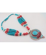 Turquoise-Coral-Lapis  Antique Look  Tibetan Silver Beaded Necklace  Oj-24 - $45.53