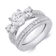 1.5 Carat Round Cut 3-Stone Wedding Band Engagement Ring Set Bridal Soli... - $72.36