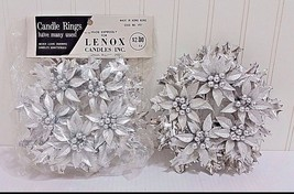 Vtg LENOX Candle Rings 2 Pc Set NOS Silver Christmas Holly & Berries Hol... - $19.83