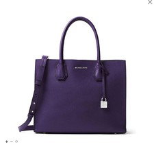 NWT Michael Kors MERCER Large Converible Leather Tote IRIS PURPLE $320 A... - $236.00