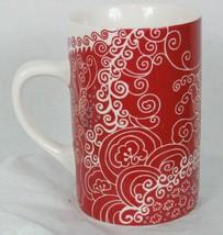 Rare 2005 Starbucks Hena Red white Paisley gray dots design 16 fl oz mug - $12.56