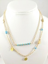 """Gold Tone Double Strand Disc & Faux Turquoise Bead Necklace 16""""-18"""" Boho NEW - $3.99"""