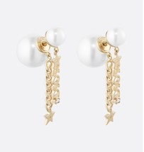 AUTH CHRISTIAN DIOR 2020 J'ADIOR DOUBLE PEARL GOLD STAR DANGLE FINISH EARRINGS image 1