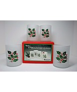 Holly 'n Frost Glasses Indiana Glass 4 Piece Rocks Set Vintage Christmas... - $29.99