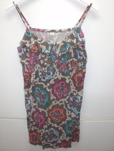 W13770 Womens OLD NAVY Brown/Turquoise/Pink SUN DRESS Empire LARGE Stretch - $27.02