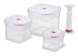 Set of LUNCH BOXES - 3 x Vacuum, Sealed, Square pieces + 1 Air Pump - $28.66